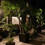 le jardin derrière la salle