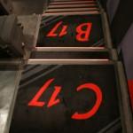 les escaliers de la salle rouge
